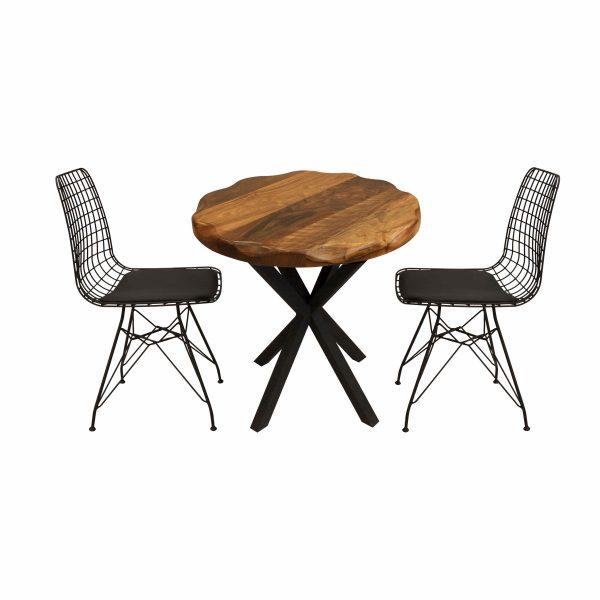 Ceviz Cafe Masası ve Siyah Tel Sandalye