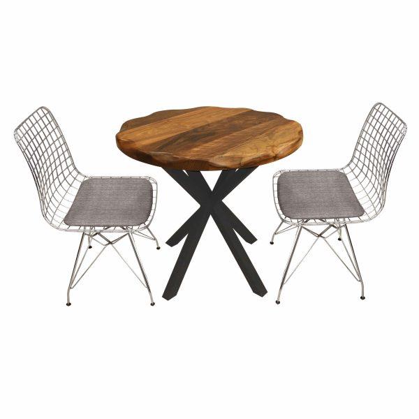 Ceviz Cafe Masası ve Gri Tel Sandalye