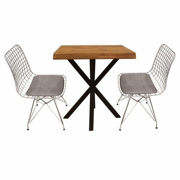 Kare Ceviz Masa ve Tel Sandalye Gri